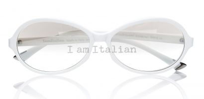IamItalian Oval sunglasses optical white silver mirror lenses limited edition