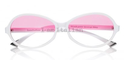 IamItalian Oval sunglasses optical white silver mirror pink lenses limited edition