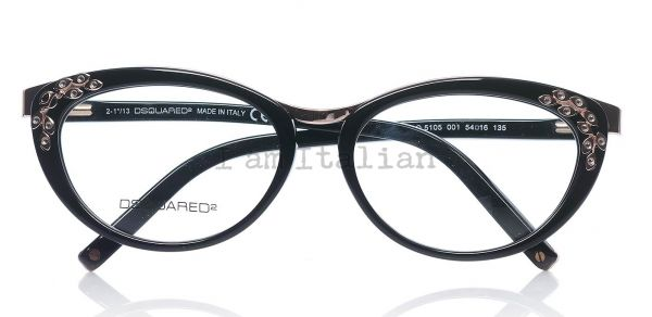 Dsquared eyeglasses vintage cat eye black gold