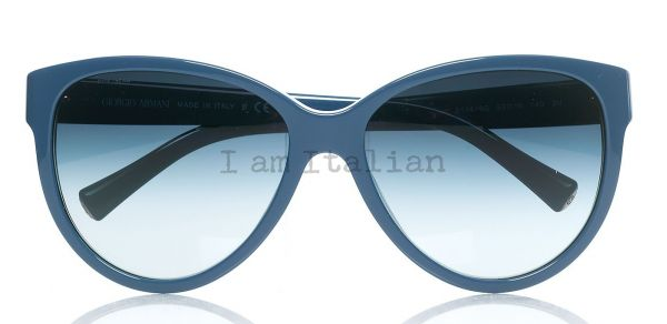 Giorgio Armani sunglasses cat eye blue indigo metal details