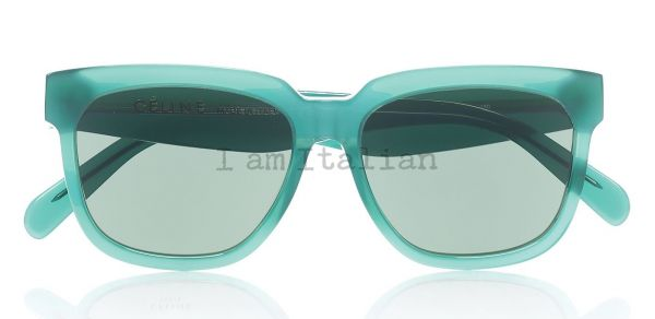 Céline green transparent rectangular sunglasses