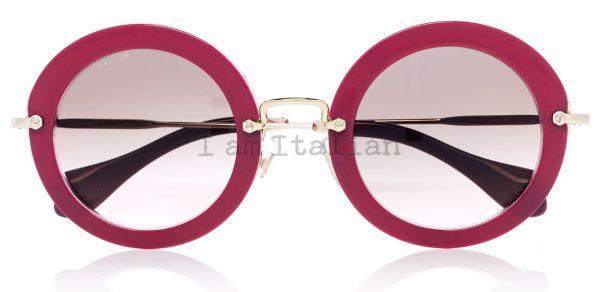 miu miu round pink glitter sunglasses