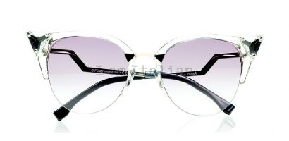 Fendi Crystal cat eye sunglasses silver and pink