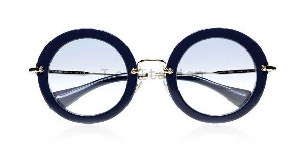 miu miu round blue glitter sunglasses