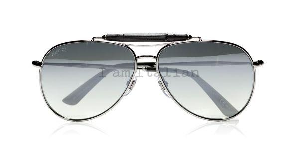 Gucci bamboo black pilot unisex sunglasses