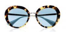 Prada round sunglasses in tortoise with blue lenses