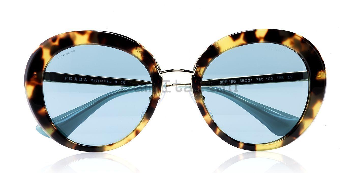 817b37e5f60 Prada round sunglasses in tortoise with blue lenses