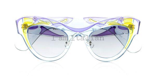 miu miu transparent butterfly sunglasses light blue